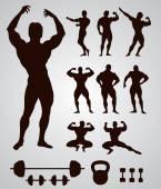 Bodybuilders silhouettes — Stock Vector