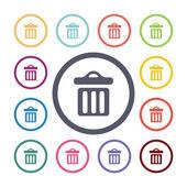 Trash bin flat icons se — Vetorial Stock