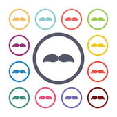 Mustache flat icons se — Stock Vector