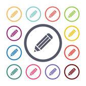 Pencil flat icons se — Stok Vektör