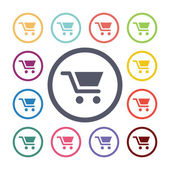 Shopping cart flat icons se — Stock Vector