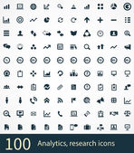 100 analytics, research icons — Stock Vector