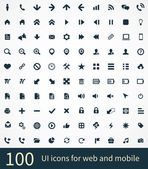 100 UI Outline Icons For Web and Mobile — Stockvector