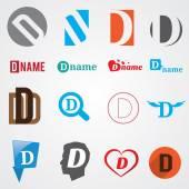 Set of alphabet symbols of letter D — Stock Vector