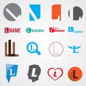 Set of alphabet symbols of letter L — Stock Vector