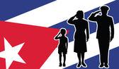 Cuba soldier family salute — Stock Vector