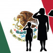 Mexico soldier family salute — Stock Vector #59608423