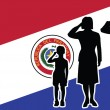 Paraguay soldier family salute — Stock Vector #59608987