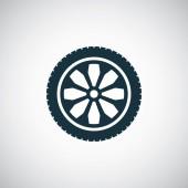 Auto wiel pictogram冬のフィールドを介してスキーの男性 — Stockvector