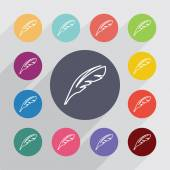 Feather outline circle, flat icons set — Stock Vector
