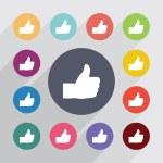 Like circle, flat icons set — Stock Vector #66030513