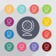 Globe outline circle, flat icons set — Stock Vector #66031291