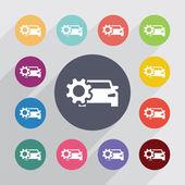 Car settings circle, flat icons set — Stock Vector