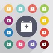 Accumulator circle, flat icons set — Stock Vector