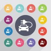 Electro car circle, flat icons set — Stock Vector