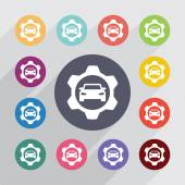 Auto service circle, flat icons set — Stockvektor