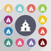 Church circle, flat icons set — Stockvektor