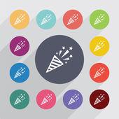 Firecracker circle, flat icons set — Stock Vector
