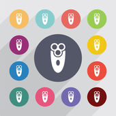 Electric shaver circle, flat icons set — Stock Vector