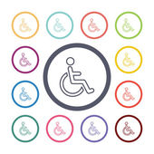Cripple flat icons set — Stock Vector