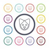 Puppy flat icons set — Stock Vector