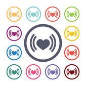 Heart beat flat icons set — Stock Vector