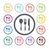 Cutlery flat icons set — Stock Vector