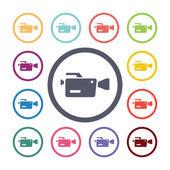 Video camera flat icons set — Wektor stockowy