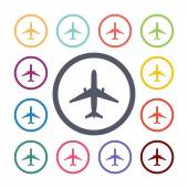 Airplane flat icons set — Stock Vector