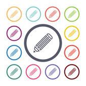 Pencil flat icons set — Stock Vector