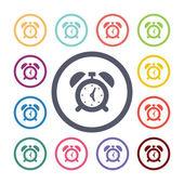 Alarm clock flat icons set — Stock Vector