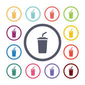 Conjunto de iconos plana café — Vector de stock