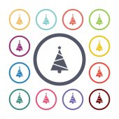 Christmas tree flat icons set — Stock Vector
