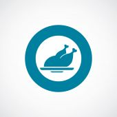 Chicken icon bold blue circle border — 图库矢量图片