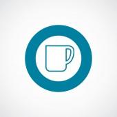 Coffee cup icon bold blue circle border — Stock Vector