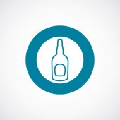 Beer bottle icon bold blue circle border — Stock Vector