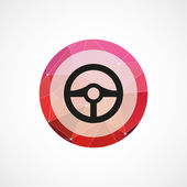Steering wheel circle pink triangle background ico — Stockvektor