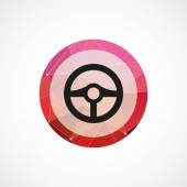 Steering wheel circle pink triangle background ico — Stock Vector