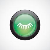 Wimper Glas Zeichen Symbol grün glänzend Knopf — Stockvektor