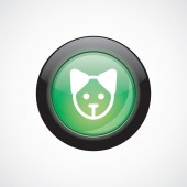 Puppy glass sign icon green shiny button — Stock Vector