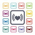 Heart beat flat icons set — Stock Vector #68120693