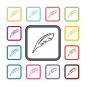 Feather flat icons set — ストックベクタ