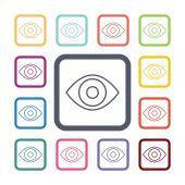 Eye flat icons set — Stock Vector