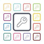 Key flat icons set — Stockvector