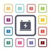 Accumulator flat icons set — Stock Vector