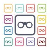 Fernglas flache icons set — Stockvektor