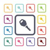 Car key flat icons set — Stock Vector