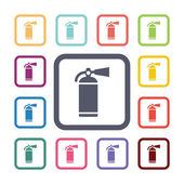 Fire extinguisher flat icons set — Stock Vector