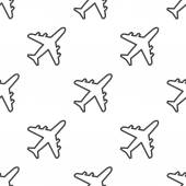 Airplane, vector seamless pattern — Stock Vector