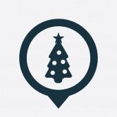 Christmas tree icon map pin — Stock Vector